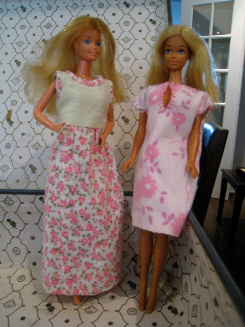 Someone bought me lots of Barbie clothes from church bazaars, as with the nightgown on the left. The one on the right is the version I made.
