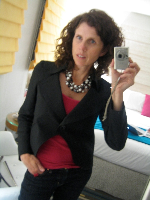 Tuesday: More Meetings Jeans with Black Jacket & Pink Tank