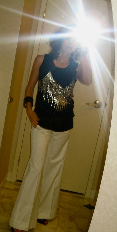 White Trousers from BCBG (thx Ventee Privee) & Sparkly Shirt (bought at a market a few years back)