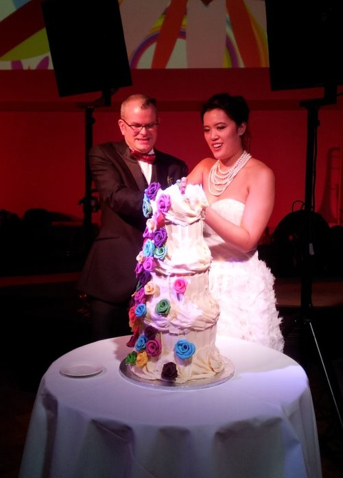 The cake was truly sculptural. Look at Flickr for robot bride/groom